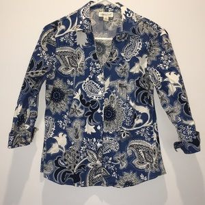 Coldwater Creek Blue Print Top PS